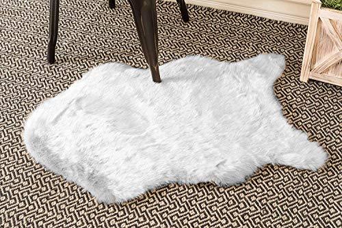 Home Must Haves - Alfombra de Piel de Oveja con Forma Suave para Dormitorio o Sala de Estar, Color Blanco