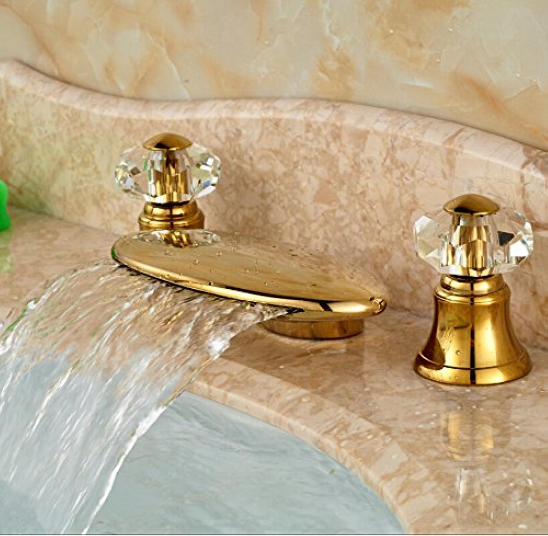 U-Enjoy Goldene Messing Wasserfall Top-Qualitt Des Auslaufs Badezimmer-Wanne-Hahn Deck Berg Doppel Cristal Griffe Wannen-Mischer Wasserhhne [Kostenloser Versand]