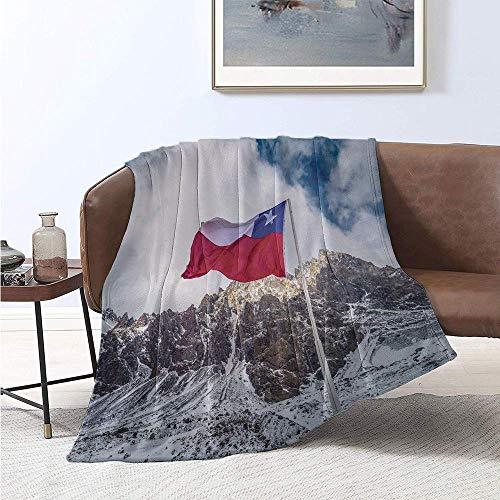 Leisure-Time Argentina Manta de Grado Especial Snowy Mountain View y Bandera chilena en la Frontera Entre Argentina y Chile Uso para sofás, etc.