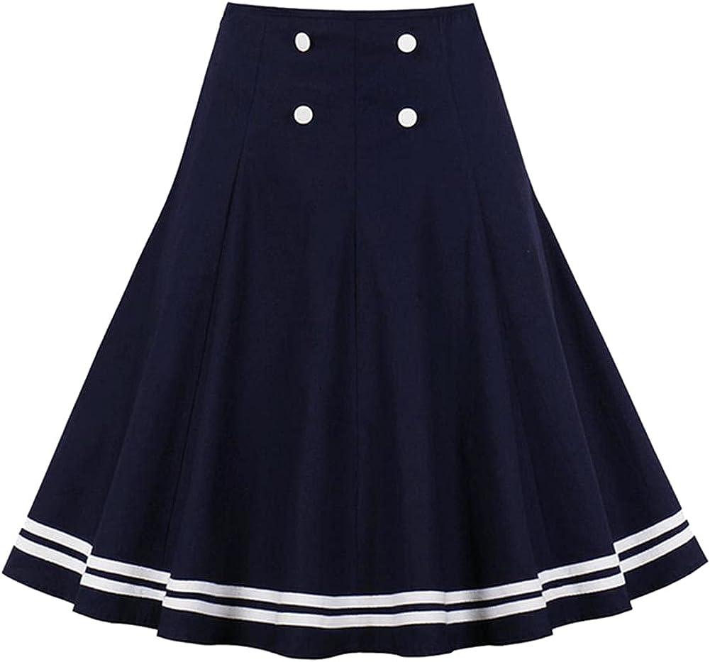CHIC&TNK Navy Blue Button Front Tape Striped Hem A Line Skirts Womens High Waist Knee-Length Preppy Skater Skirt