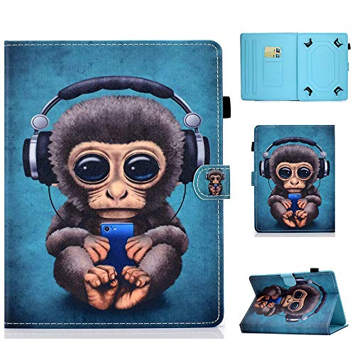 Universal Case for 9-10.1 Inch Tablet Stand Cover Protective Shell for Fire HD 10 Huawei MediaPad T3/T5 10 Fusion5 10.1' iPad 10.2 2019 Galaxy Tab A 10.1/Tab E 9.6 Lenovo Tab 3 (Monkey)