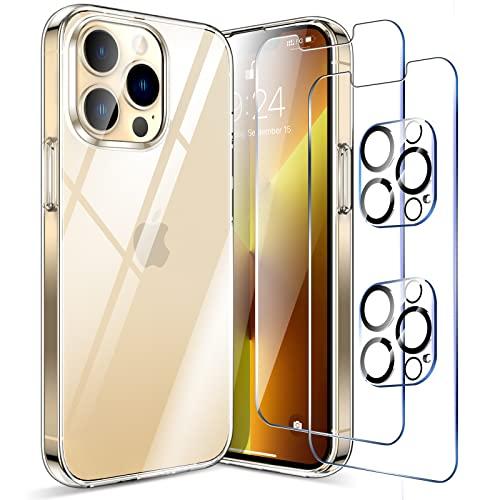 LK Funda Compatible con iPhone 13 Pro 6.1 Pulgadas, 2 Pack HD Cristal Protector de Pantalla y 2 Vidrio Templado Protector de Lente de Cámara, Carcasa Suave TPU Silicona Cover - Clara