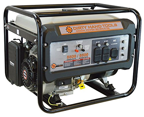 Dirty Hand Tools 101092 6500W Generator - Gas Powered 76dB 120V Outlets x4, 240V x1, DC x1