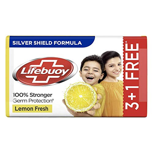 Lifebuoy Lemon Fresh 100% Stronger Germ Protection Soap Bar, 125 g (Pack of 4)