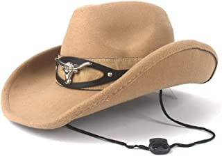 PANFU-AU Western Cowboy Hat Women Men Fashion Wool with Cow Head Band Pop Fedora Hat Wide Brim Hat Size 56-58CM (Color : Khaki, Size : 56-58)