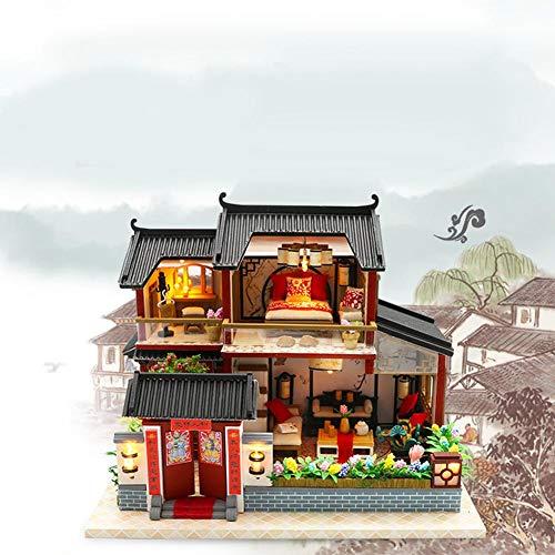 Casas miniaturas, DIY casa de Las muñecas de Madera con Muebles,Juguetes para niños y Adolescentes, Estilo Chino Hecho a Mano Siheyuan, Manualidades miniaturas, maquetas para Construir Adultos