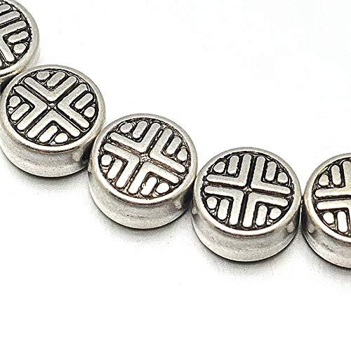 Cuentas de plata tibetana separadoras de 6 mm, 32 piezas de mosaico, 1 cuerda de cuentas intermedias para manualidades, joyas, cadenas, pulseras, joyas
