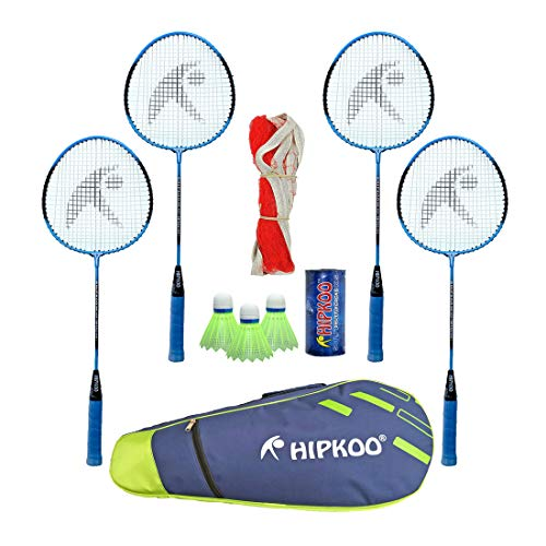 HIPKOO SPORTS Choice Badminton Kit (Set of 4) 3 Shuttles, Net and Quality Carry Bag (Blue)