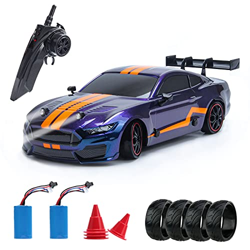BESWIT Remote Control Toy Car GT Drift Car RC Sport Racing Car Hight Speed Drift Vehicle1/14 RC Car for Adults Kids Gifts, 4WD RTR vehicle with LED lights, Two batteries and Drift Tires + Racing Tires