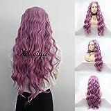 Xiweiya Pelucas largas rizadas de pelo de sirena morado sintético encaje frontal peluca ondulada profunda peluca completa cosplay fiesta pelucas resistente al calor Halloween mujeres pelucas de pelo