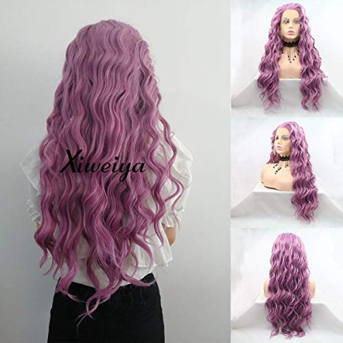 Xiweiya Long Curly Lace Front Purple Wig Lavender Light Purple Lace Wig Middle Part Heat Resistant Fiber Glueless Natural Looking Soft Wig High Density Wig for Women