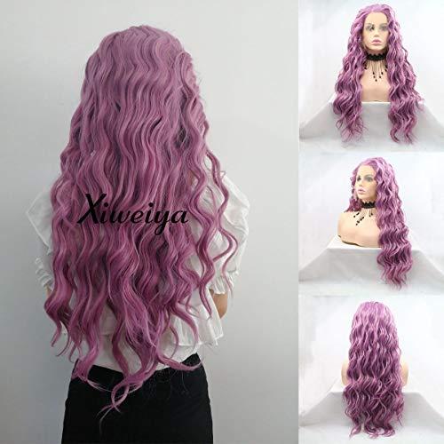Xiweiya Cheveux longs bouclés Perruques sirène Coiffure Violet synthétiques Perruque lace front profond ondulés perruque complète Cosplay Perruques résistant à la chaleur