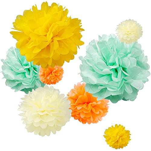 "WYZworks Set of 8 (Assorted Yellow/Orange Seafoam Color Pack) 10"" 12"" 16"" Tissue Pom Poms Flower Party Decorations for Weddings, Birthday, Bridal, Baby Showers Nursery Décor"