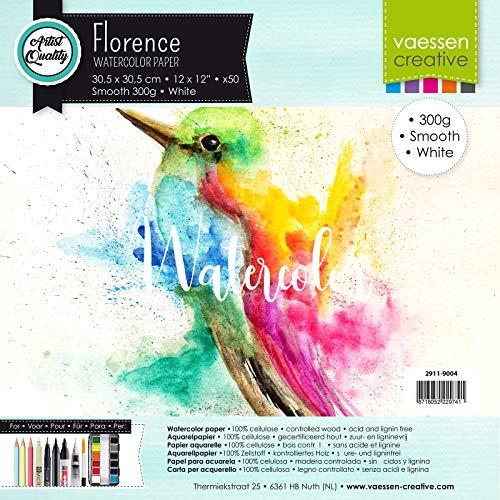 Vaessen Creative Florence Glattes Aquarellpapier, Weiß, 300 Gramm/m², 50 Stück, Quadratisch, 30,5 x 30,5 cm, für Aquarellmalerei, Handlettering, Brush Lettering und andere Papierbasteleien