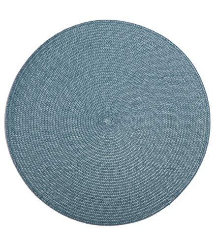 Set de Table Tréssé Rond - Diam. 38 cm - Bleu Orage