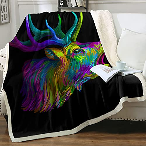 ZHANGWENJIE Deer Fleece Blanket Woodland Blanket Wildlife Blanket Moose Blanket Stag Blanket Rustic Animals Luxury Fuzzy Reversible Blanket 150x200cm 7