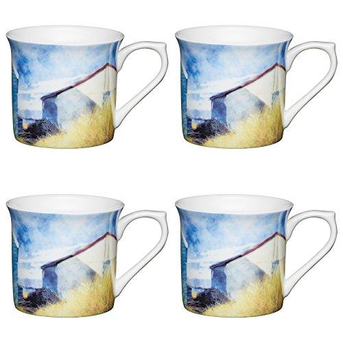 Kitchencraft Fine–casetas de playa 'estriado watercolour-style Printed mugs, 300ml (Juego de 4), Bone China, Multi/colour, 11,5x 8,5x 8cm