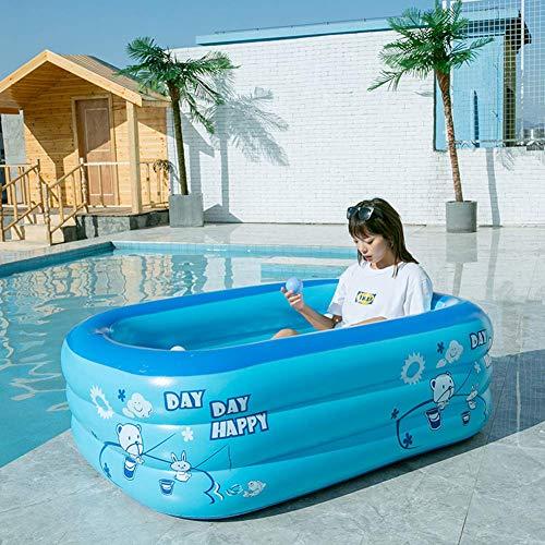 LIUSHI Aufblasbare Pools, PVC Kinderbecken mit Pumpe, Planschbecken für Kinder Erwachsene, Sommer Wasser Pool Garten Hinterhof, tragbares Schwimmbad oberirdisch blau 210cm