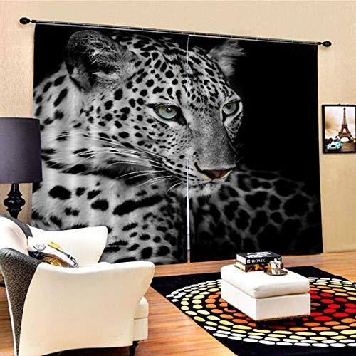 ZCCBF Cortinasopacaspara Oficina Moderna con Agujeros,Leopardo Oscuro(280X250Cm) Cortinas Poliéster Resistente Al Calor Y La Luz para Gente Joven 2 Paneles
