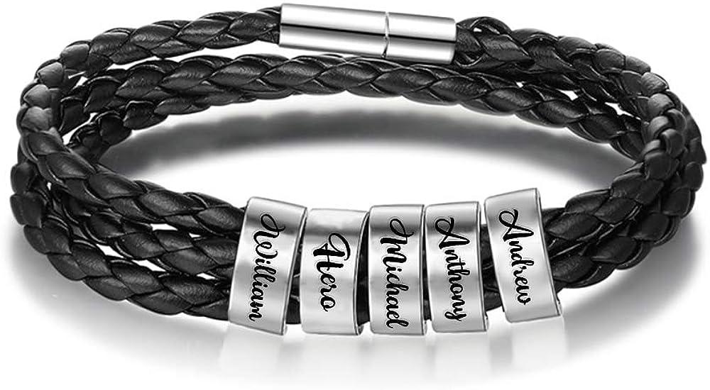 Now free shipping BINKILA Luxury goods Men's Black Leather Bracelet Name Custom Persona Pattern