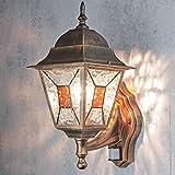 Aplique de exterior con detector de movimiento H:42cm cristal E27 cobre camino antiguo iluminación jardín balcón casa