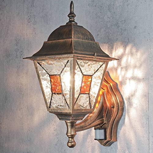 Außen Wandleuchte mit Bewegungsmelder H:42cm Glas E27 Kupfer Antik Wegbeleuchtung Garten Balkon Haus
