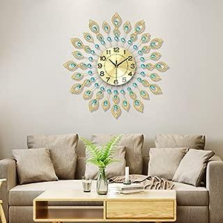 WuuLii Decor Wall Clock- Living Room Large Wall Clock- Fashion Peacock Wall Clock Modern Living Room Wall Clock Luxury Decor Wall Clock