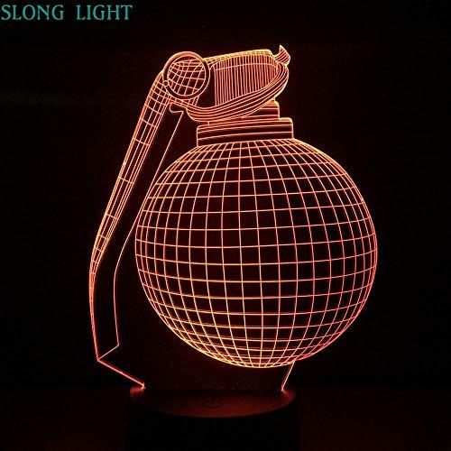 Panzerabwehr Handgranate Nachtlicht LED 3D Illusion Dekoration Kinder Kinder Geschenk Frag Waffe Nachttischlampe Schlafzimmer