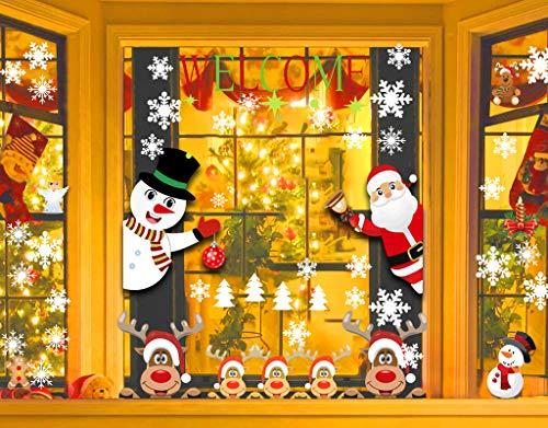 CheChury Weihnachtsdeko Fensterdeko Weihnachten Fensterbilder Netter Weihnachtsmann Süße Elche Rentier Aufkleber Schneeflocken Schneeflocken Fenster Statisch Aufkleber Winter Dekoration