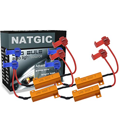 NATGIC 4pcs 50W 8 ohm LED Load Resistors Decoders for Turn Signal Lights, Headlights, Fog Lights Lamps, DRL with 8pcs Quick Wire Clips...
