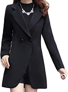 Womens Plus Size Casual Double-Breasted Lapel Solid Outdoor Windproof Pea Coat Two US Large