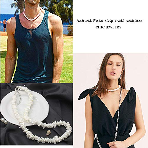 ATIMIGO Natural Puka Shell Choker Necklace for Women Girls,Handmade Cowrie Sea Shell Clam Chips Pearl Hawaii Beach Necklace Jewelry for Men