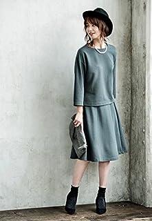 UNIQLO オンライン XS 二点セット ミラノリブカットソーワイドスリーブT&ミディスカート セットアップ スモーキーグリーン