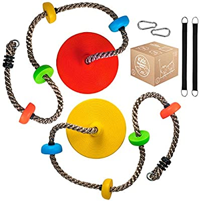 2 x Climbing Rope Tree Swing Outdoor Disc Swings Seat for Kids, Backyard Playground Accessories with Hanging Straps and Carabiners for Outside Play and Tree House Activities by Kids Outdoor Store