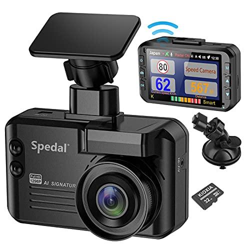 Spedal レーダー探知機 ドライブレコーダー GPSデータ3 in 1 一体型新型光オービス(レーザー式移動オービス)対応 レーザー探知機 速度測定 移動オービス識別 リアルタイム警報 フルHD 1296P 3.0型液晶 140度広角 駐車監視 音声録画 GPS&BDSデュアル衛星測位 データ更新無料 32GBSDカード付き 日本語説明書