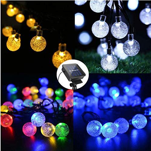 20 pies 30 LED Solar Cadena de luces de bola al aire libre impermeable cálido blanco jardín guirnaldas Navidad decoración multicolor
