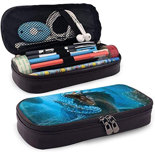 Chinesischer Drache Unterwasser Kunstleder Federmäppchen Stifthalter mit Reißverschluss für Mädchen und Jungen - Bleistiftbeutel Schreibwaren Aufbewahrungstasche für das Schulbüro (braun)