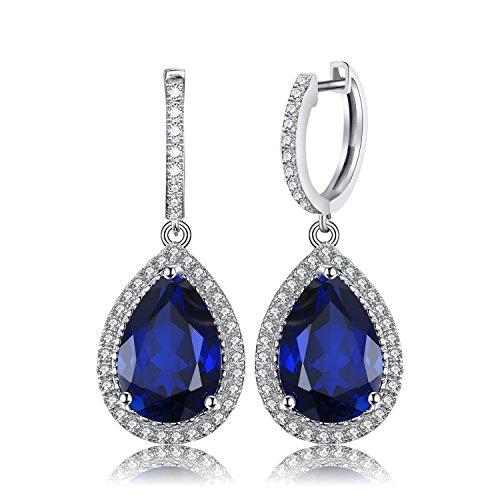 JewelryPalace 10.6ct Luxus Damen Geschenk Blau Synthetisch Saphir Tropfenschliff 925 Sterling Silber Ohrringe Ohrhänger