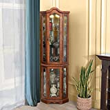 GOOD & GRACIOUS Corner Curio Cabinet with Tempered Glass Door and Light System 5-Tier with Adjustable Glass Shelves Display Cabinet, Walnut