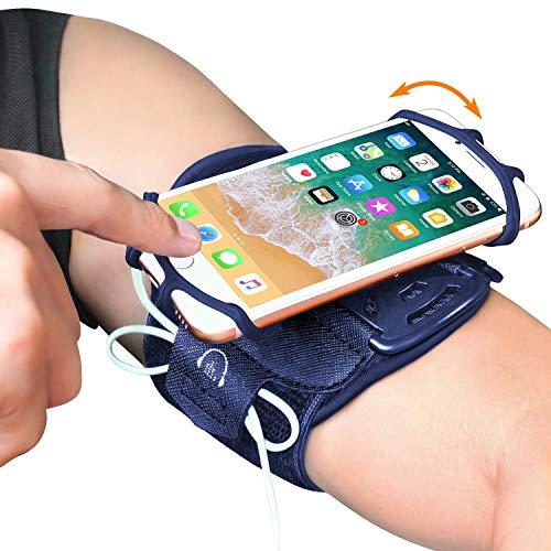 Bovon Brassard Smartphone, 360° Rotation Brassard de Sport Super Respirant Compatible avec iPhone 12 Pro Max/12 Pro/12 Mini/12/11 Pro/XR/X/8/7/6/6S, Samsung et d'autres Téléphones 4-6.7 Pouces, Porte-Clés