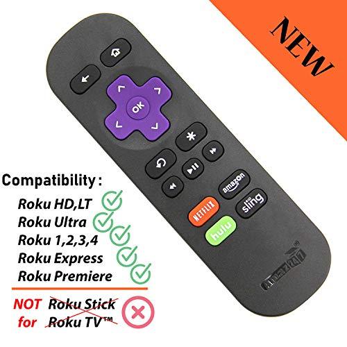 Amaz247 ARC101 Standard IR Replacement Remote for Roku 1, Roku 2, Roku 3, Roku 4 (HD, LT, XS, XD), Roku Express, Roku Premiere, Roku Ultra; DO NOT Support Roku Stick or Roku TV
