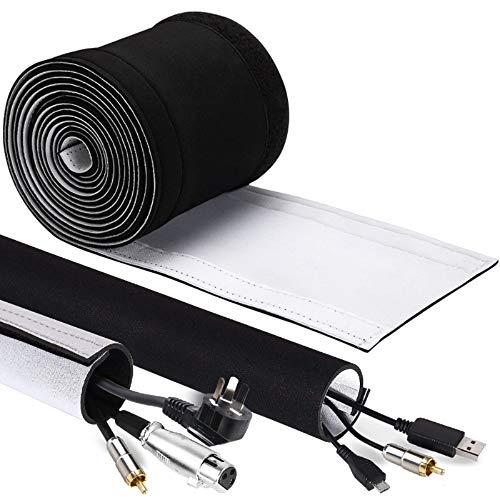 GeeRic 4M Kabelschlauch Neopren Kabelkanal mit einstellbarem Durchmesser für Kabelmanagement, Neopren Flexibler und wiederverwendbarer mit Klettverschluss Schwarz/Weiß