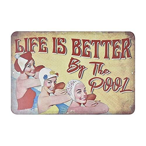 Zwembad regels teken, Zwembad metalen decoratie teken, Zwembad regels Patrons Metalen teken veiligheid borden voor…