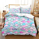 MUSOLEI Mermaid Girls Bedding Set Duvet Cover,3D Rainbow Scales Comforter Cover Bedding Set with 2 Pillowcase, No Quilt and Sheet (12,Twin)