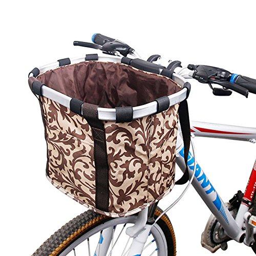 Fahrrad Korb, vorn Mehrzweck Fahrrad Lenker Korb klappbar abnehmbarer Fahrrad Korb Organizer Metall Alu Rahmen Abnehmbare Rad-Pet Fahrradkorb Tasche mit Kordelzug Schließung, 3#