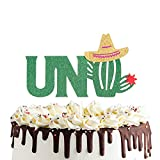 Uno Cactus Cake Topper for Fiesta First Birthday,Mexican Happy Birthday Party Supplies Decorations
