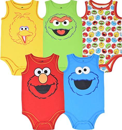 Sesame Street Baby Baby Boy Girl 5 Pack Sleeveless Bodysuits 18 Months