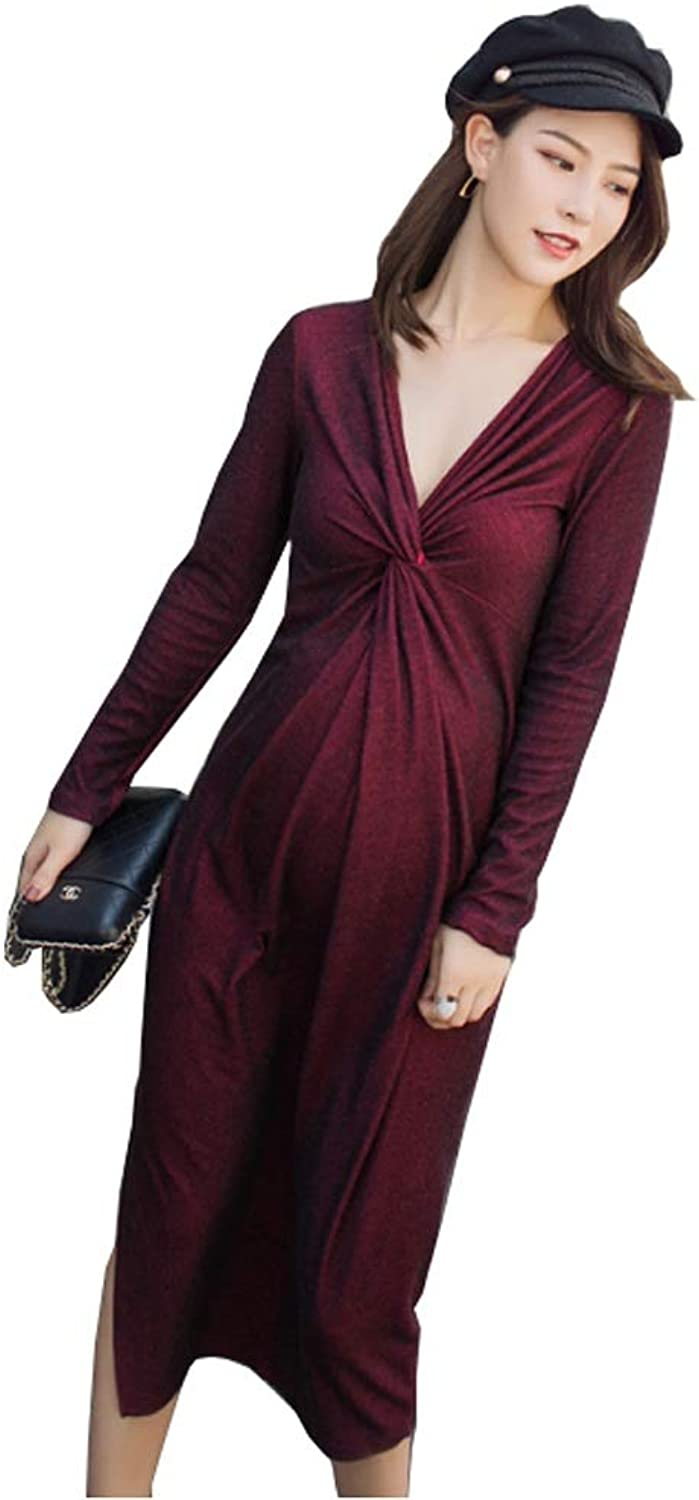 WF Wine red Dress Dress  Women's Spring and Summer New Long VNeck Split Dress Maternity Dress (color   Red, Size   M)