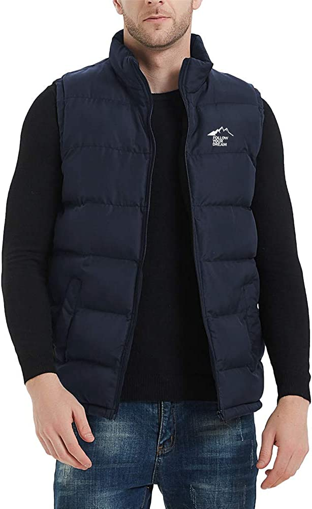 MADHERO Men's Puffer Vest Stand Collar Quilted Sleeveless Jacket Outerwear