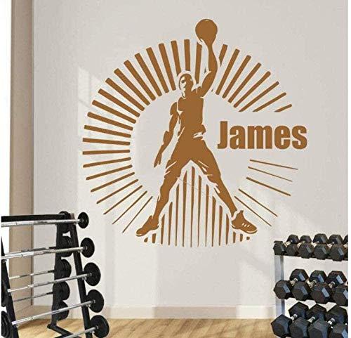 Pegatinas de pared decoración de la pared decoración del hogar nombre personalizado personalizado baloncesto decoración sala de estar 57X57Cm